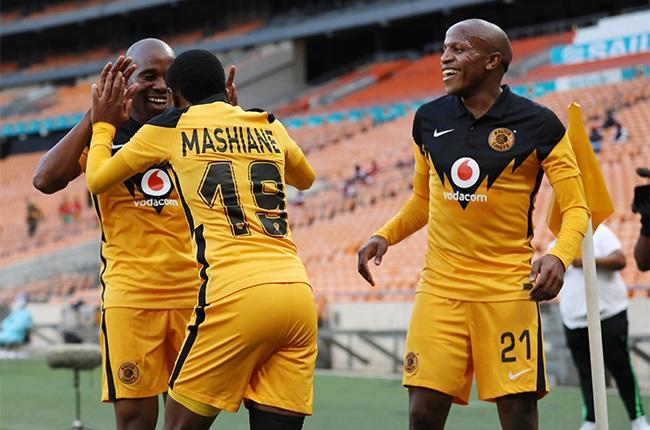 Happy Mashiane of Kaizer Chiefs celebrates goal with teammates during the DStv Premiership match between Kaizer Chiefs and Tshakhuma Tsha Madzivhandila at FNB Stadium on January 19, 2021 in Johannesburg, South Africa.