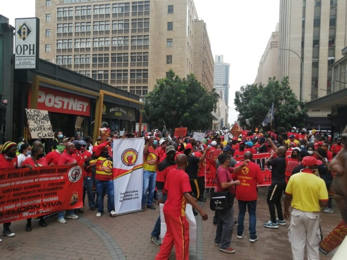 South African Federation of Trade Unions took to