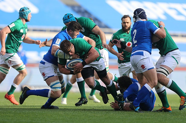 Ireland's CJ Stander on the charge against Italy. (Photo by Paolo Bruno/Getty Images)
