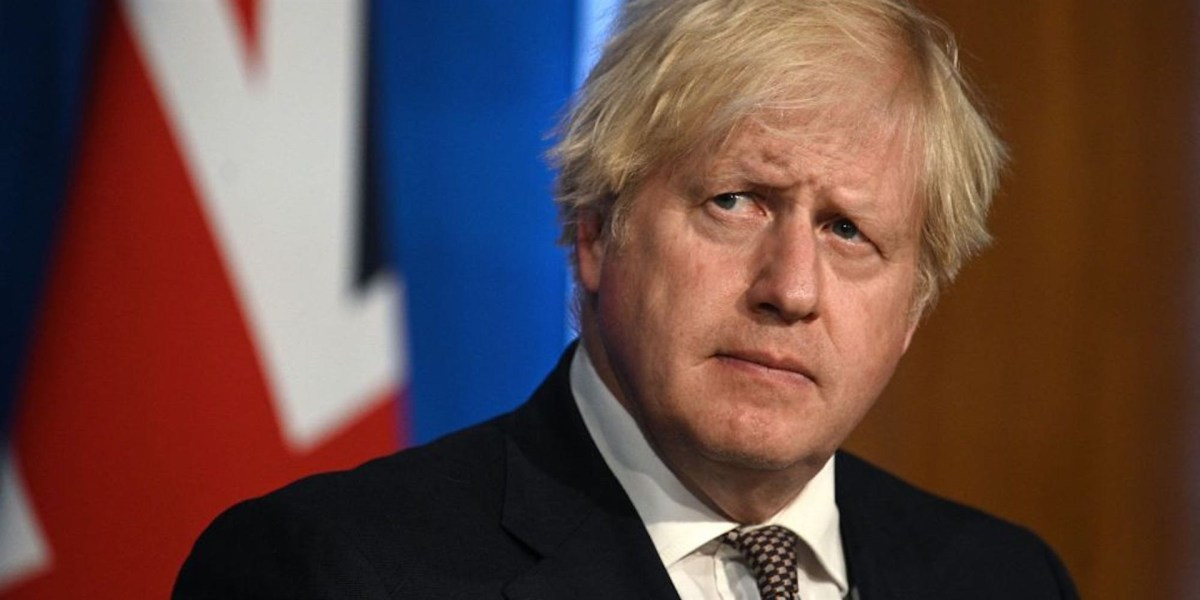 British Prime Minister Boris Johnson at the Downing Street Briefing Room.