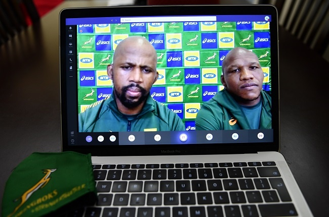 Green team coach, Mzwandile Stick and Bongi Mbonambi during the virtual team announcement press conference on 30 September 2020 in Cape Town.