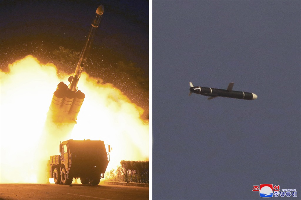 This undated combo picture released from North Korea's official Korean Central News Agency (KCNA) on September 13, 2021 shows a test-fired new type long-range cruise missile on September 11 and 12, conducted by the Academy of Defence Science of the DPRK.