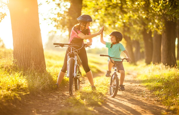 mom and child cycling