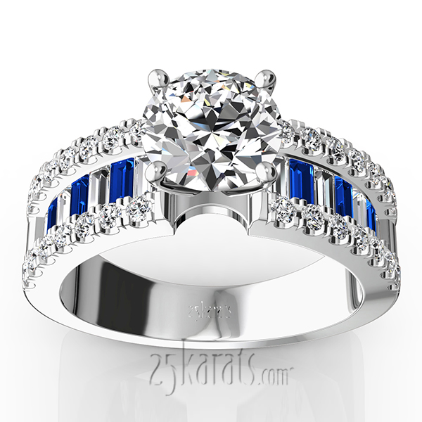 Engagement Ring With Sapphire And Diamond Baguettes 125