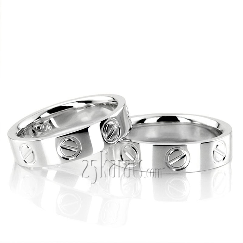 HH 104 14K Gold Cartier Inspired Wedding Ring Set