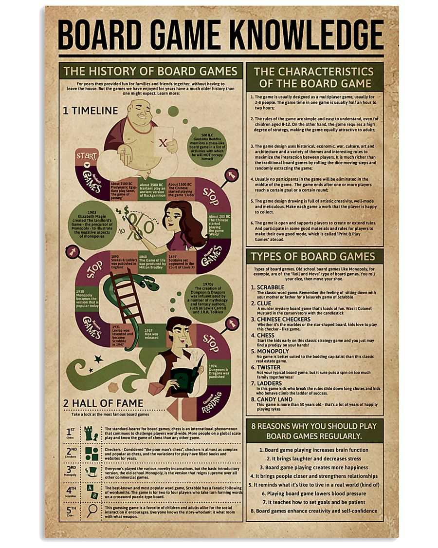 board game knowledge 11x17 poster