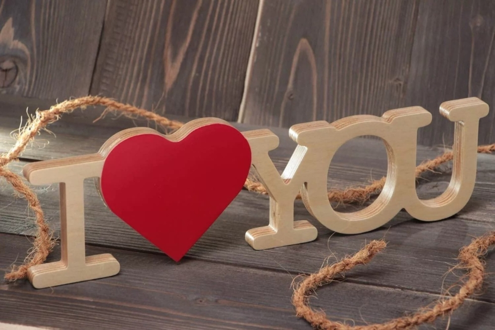 Download Laser Cut I Love You Wooden Letters With Red Heart Shape ...