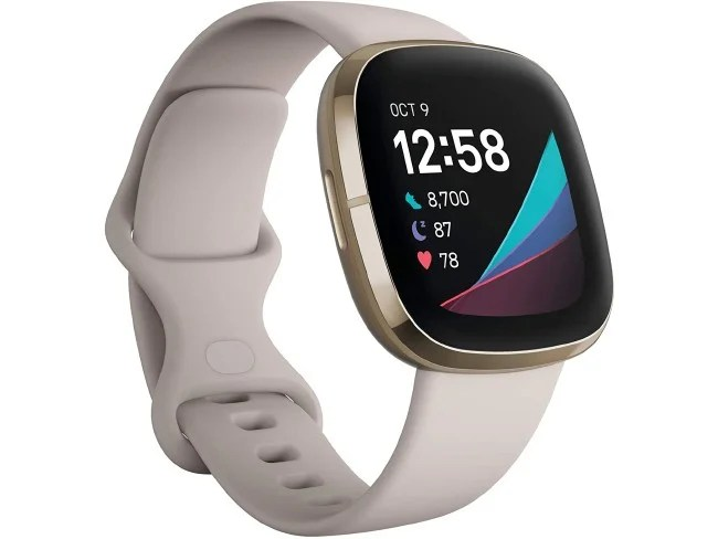 Smartwatch Fitbit Sense em bege