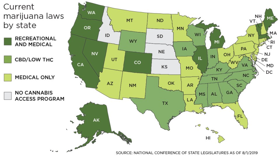 A map of the United States showing the legal status of marijuana color coded by state