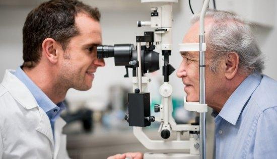 man getting an eye exam