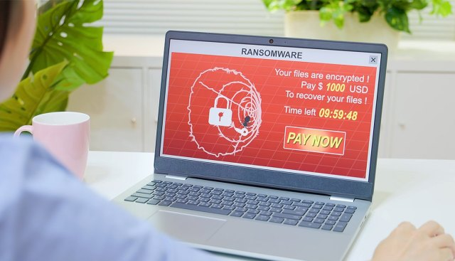 ransomware attack displayed on a woman's laptop screen
