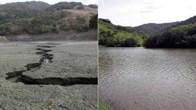 This combination of two file photos shows, top, the cracked and dry bed of the Almaden Reservoir in 2014, in San Jose and, below, the same reservoir full of water in 2016.