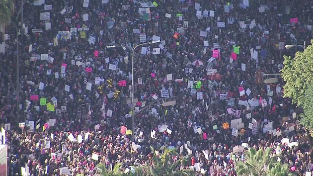 Image result for images of women's march from in Los Angeles on Jan. 21, 2017