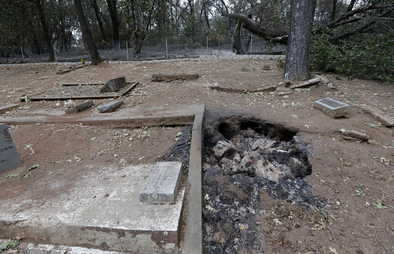 A hole continues to smolder next to a grave in the Middletown Cemetery where a wildfire tore through the area two days earlier Monday, Sept. 14, 2015, in Middletown, Calif. <span class=meta>AP Photo/Elaine Thompson</span>
