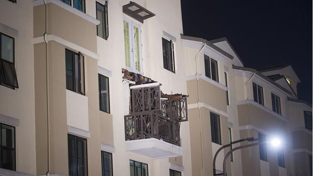 <div class='meta'><div class='origin-logo' data-origin='none'></div><span class='caption-text' data-credit='AP Photo/Noah Berger'>A fourth floor balcony rests on the balcony below after collapsing at the Library Gardens apartment complex in Berkeley, Calif., early June 16, 2015.</span></div>