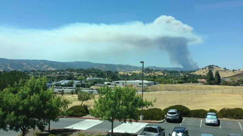An ABC7 News viewer snapped this photo of smoke from the Wragg Fire burning near Lake Berryessa on Tuesday, July 28, 2015. <span class=meta>Tony Lee /Facebook</span>