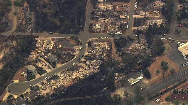 Sky7 HD shows homes destroyed by the Valley Fire in Lake County, Calif. on Tuesday, September 15, 2015. <span class=meta>KGO-TV</span>