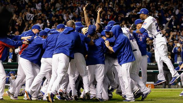 Chicago Cubs players celebrate after winning Game 4 in baseball's National League Division Series, Tuesday, Oct. 13, 2015, in Chicago. <span class=meta>AP Photo/Nam Y. Huh</span>