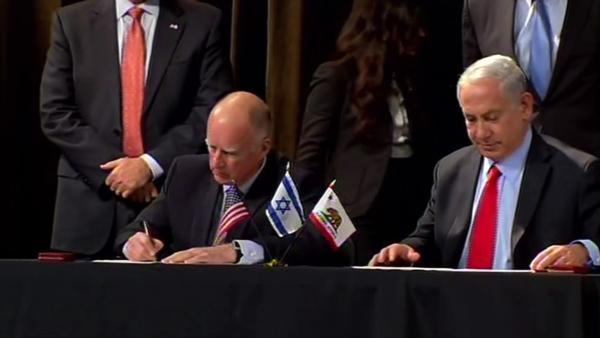 Netanyahu and Gov. Brown sign pro-business pact
