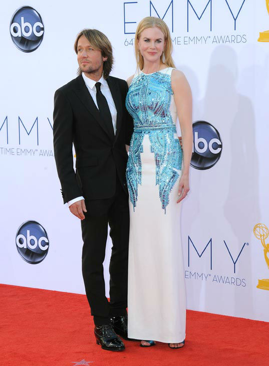Musician Keith Urban, left and actress Nicole Kidman arrive at the 64th Primetime Emmy Awards at the Nokia Theatre on Sunday, Sept. 23, 2012, in Los Angeles.