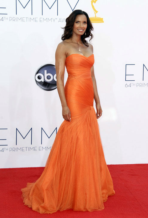 Padma Lakshmi arrives at the 64th Primetime Emmy Awards at the Nokia Theatre on Sunday, Sept. 23, 2012, in Los Angeles.