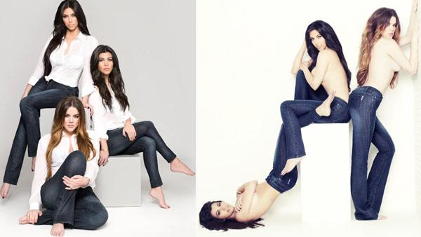 Khloe, Kim and Kourtney Kardashian appear in January 2012 ads for their Kardashian Kollection denim line, posted on Khloes official website, KhloeKardashian.celebuzz.com - Provided courtesy of Kardashian Kollection / Nick Saglimendi