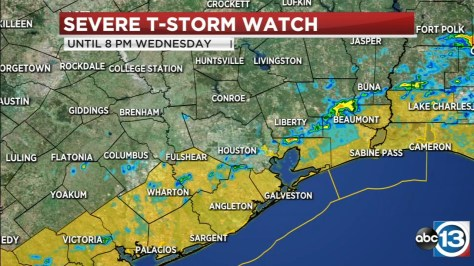 Severe Thunderstorm Watch south of Houston until 8 p.m.