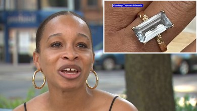 Woman searching for lost ring after removing it on bench in Brooklyn