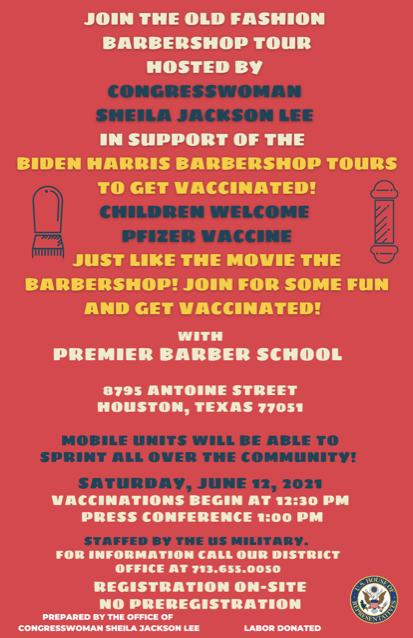 Sheila Jackson Lee to host COVID vaccine 'barbershop tour' tomorrow