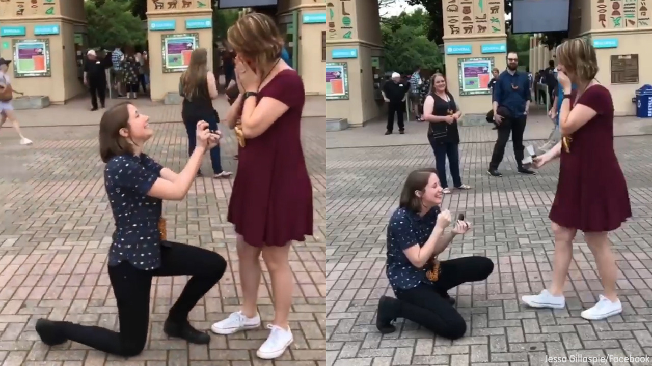 Couple surprises each other with sweet double proposal   abc7ny com