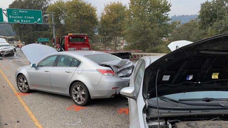Big rig crash involving more than a dozen cars closes northbound Hwy