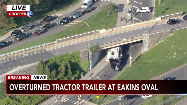 Tractor-trailer overturns near Philadelphia Art Museum
