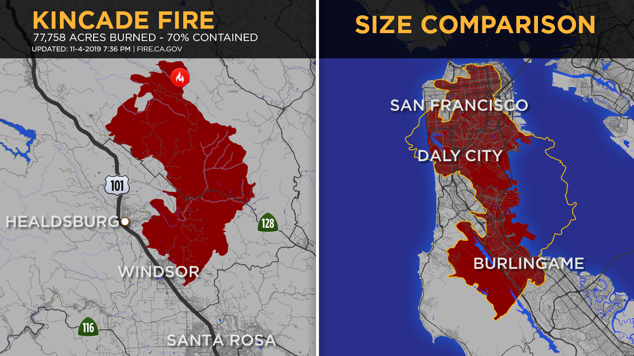 Kincade Fire Maps Here S How Much Ground The Wildfire Would Cover In Other Parts Of Bay Area Abc7 San Francisco