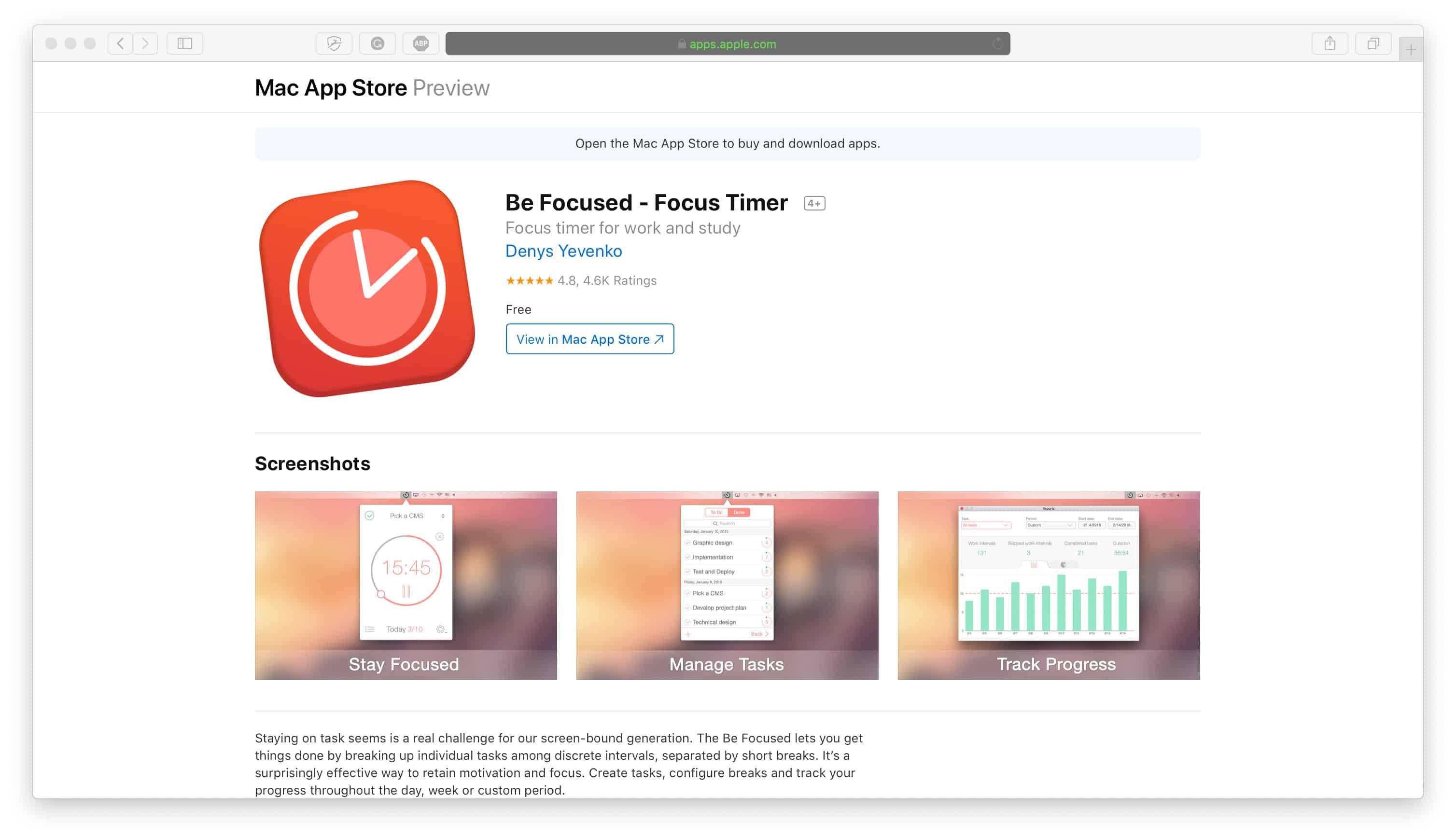 BeFocused Time Management App