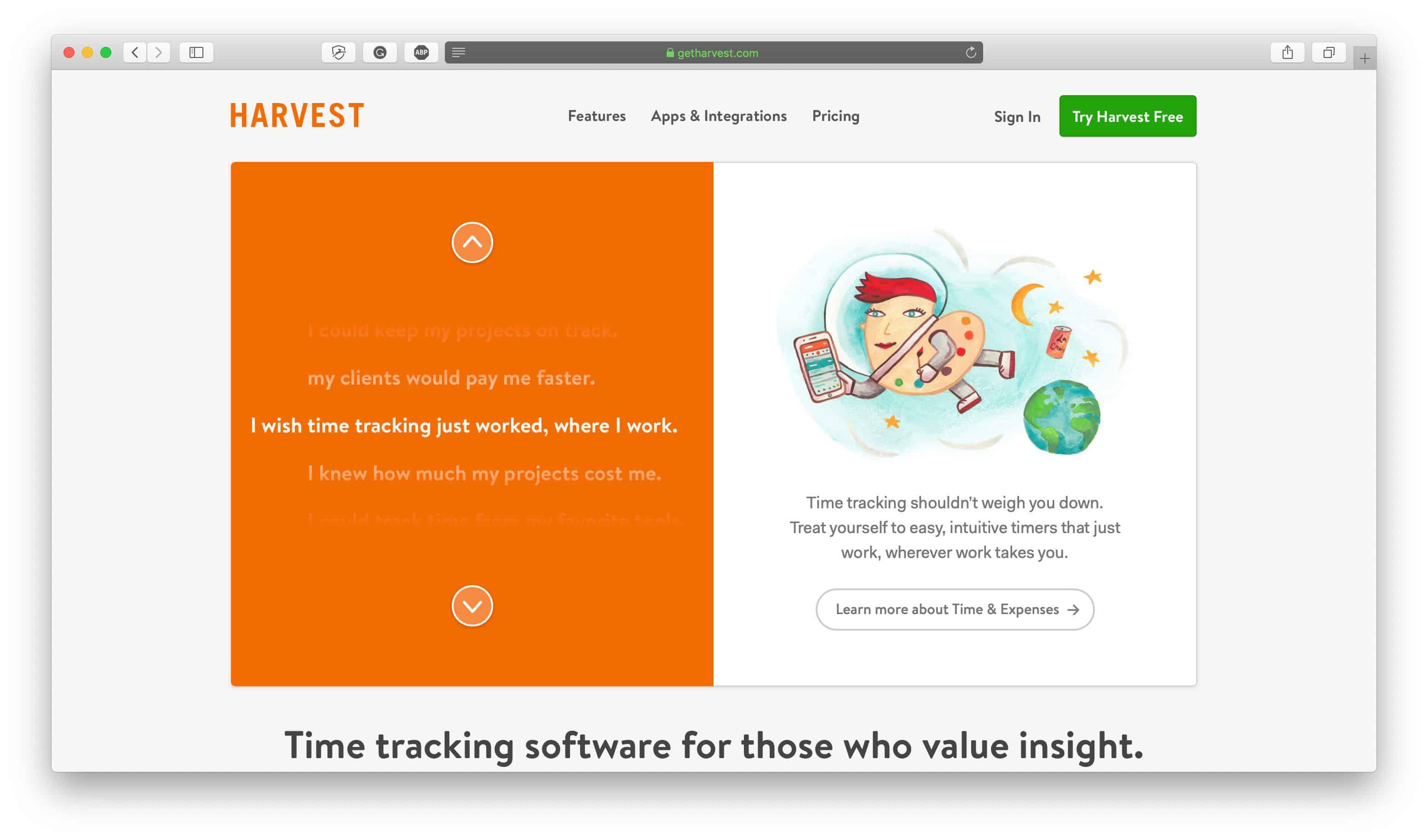 Harvest Time Tracking App