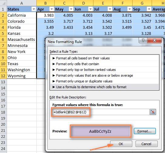A rule to change the background color of blank cells using a formula