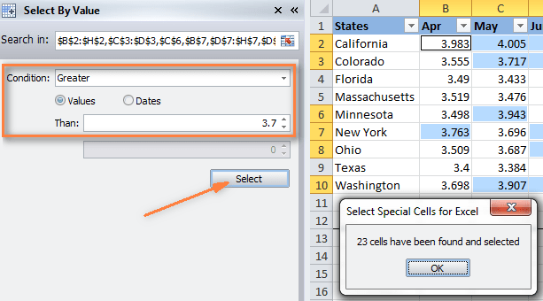 Select all values within a particular range using Select Special Cells add-in.