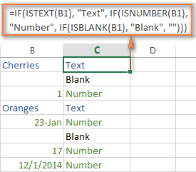 Using IF with ISNUMBER, ISTEXT and ISBLANK functions