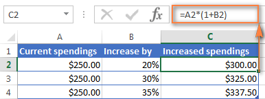 Excel formula to increase a number by percentage