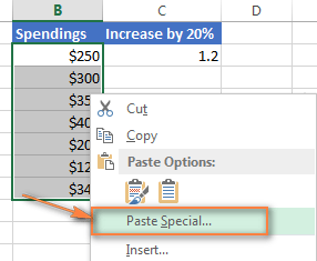 Use Paste Special to increase an entire column of numbers by percentage