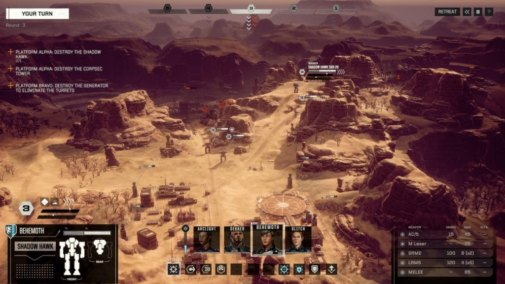 A screenshot of the BattleTech Gameplay.