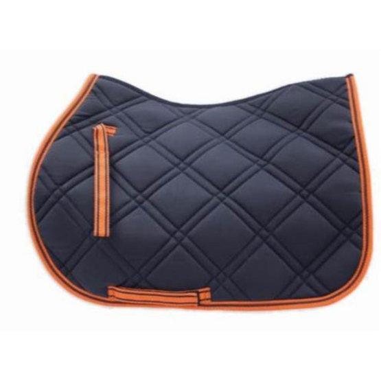loveson tapis de selle bleu marine orange