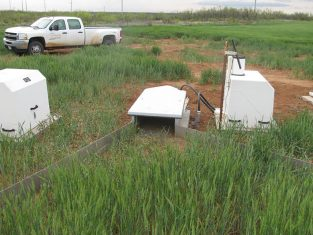White equipment on the edge of a field that will measure water runoff quality after the use of dairy manure