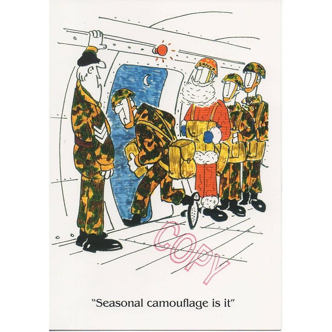 Christmas Card Seasonal Camo Cartoon The Airborne Shop