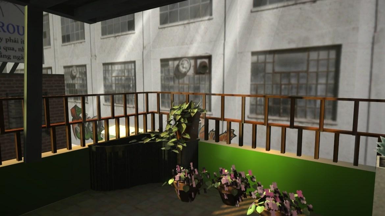 A varanda suburbana rodeada de gente e simultaneamente perfeitamente isolada do mundo.