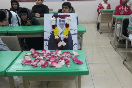 """بالصور.. طلاب متوسطة """"اليرموك"""" بالمبرز ينعون زميلهم الشهيد الممتن على طريقتهم الخاصة"""