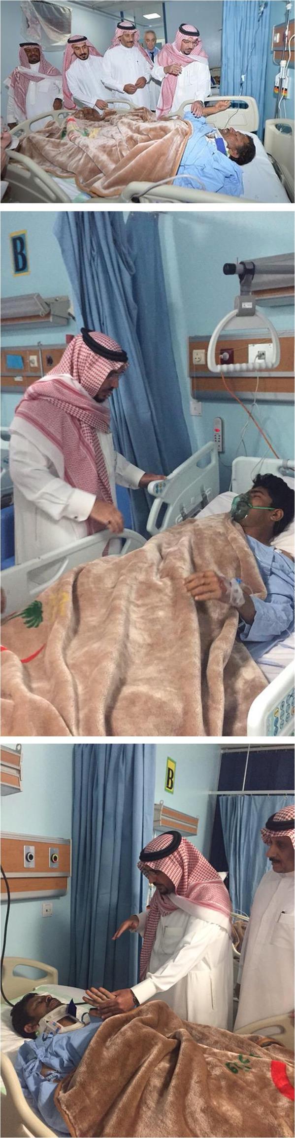 الأمير فيصل بن مشعل يزور مصابي انهيار مبنى الجامعة