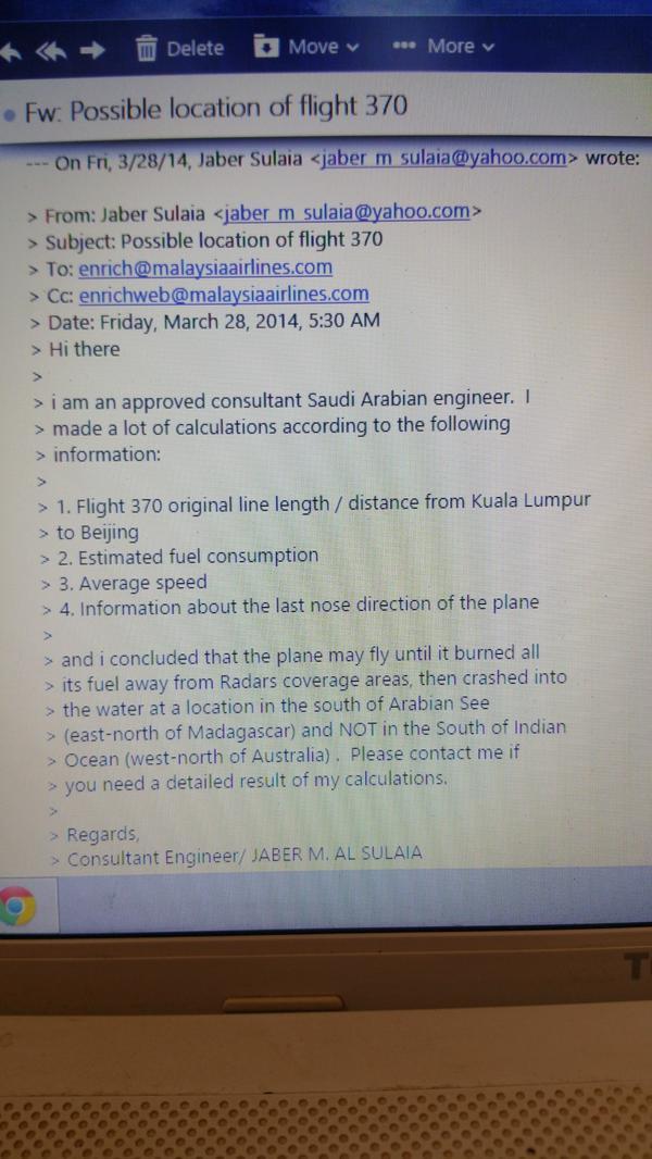 مهندس سعودي يسبق العالم لتحديد موقع الطائرة الماليزية المنكوبة منذ الأيام الأولى لاختفائها