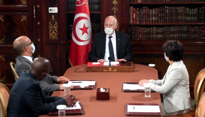 جانب من لقاء الرئيس التونسي وقيادات القضاء