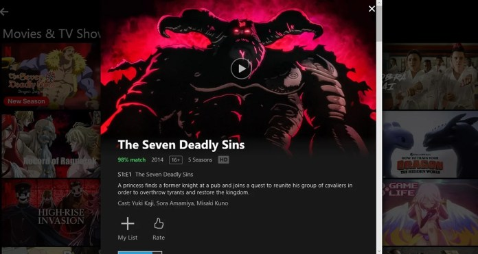 Payment options to watch the Seven Deadly Sins-netflix